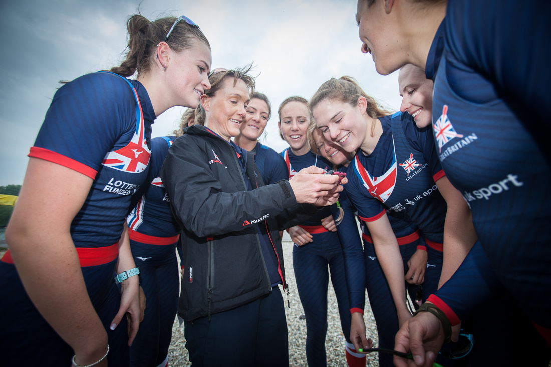 Jane Hall with members of the 2017 British Rowing Women's eight