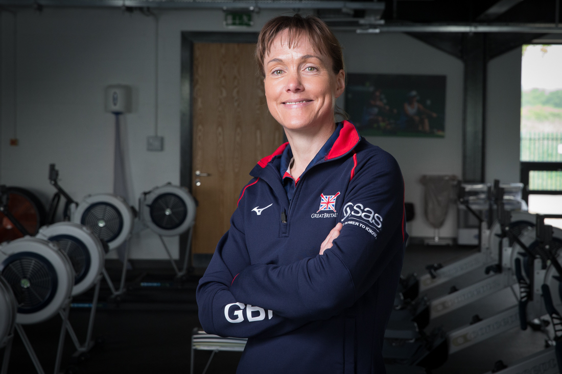 Jane Hall rowing coach with British Rowing photographed at Caversham by Angus Thomas