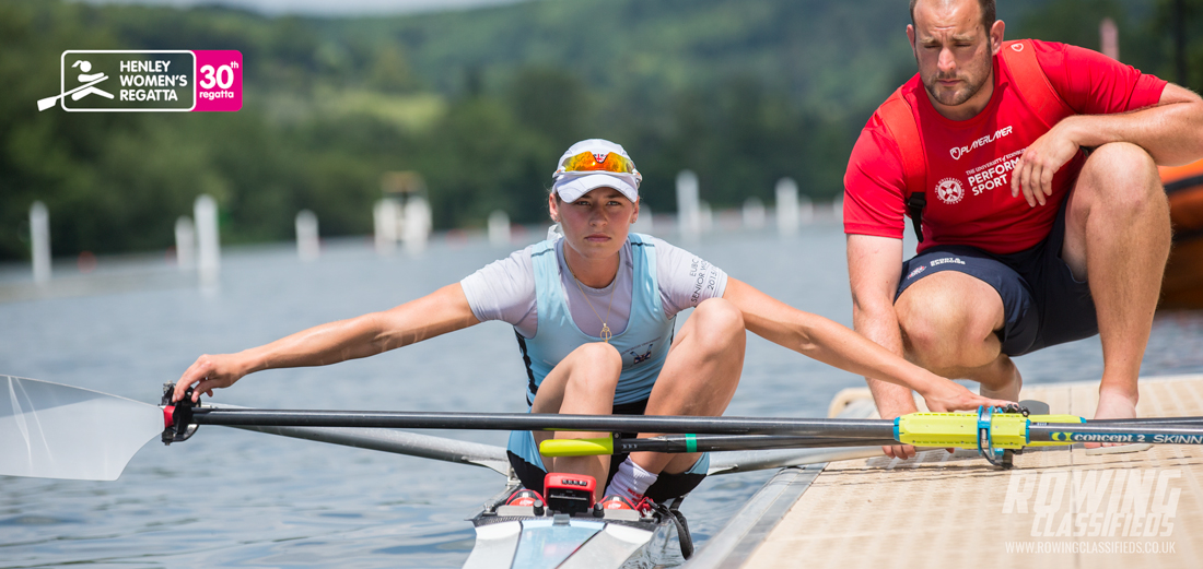 Maddie Arlett and her coach prepare for the lightweight women's single final at the 30th anniversary of Henley Women's Regatta 2017