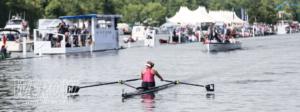 Hannah Osborne crosses the line in her single scull at Henley Royal Regatta