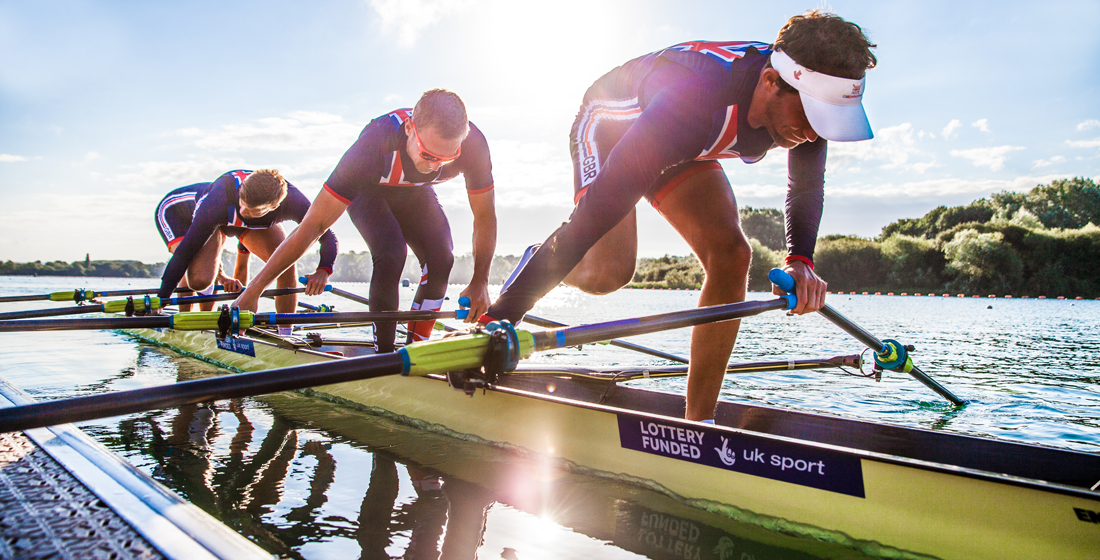 Beaumont, Walton, Collins and Lambert of the Great Britain quad push off at Caversham
