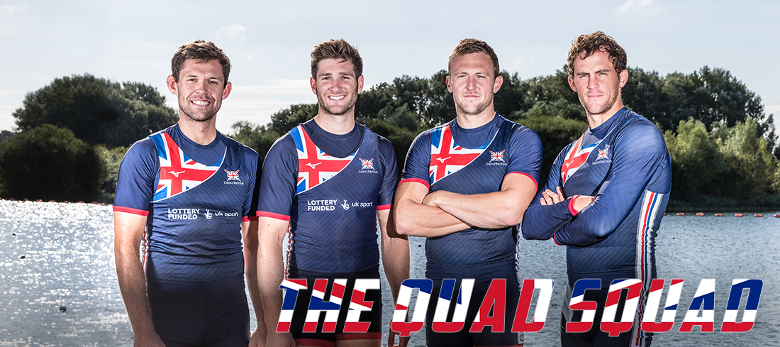Great Britain quadruple scull with Jack Beaumont, Jonny Walton, John Collins, Peter Lambert photographed by Angus Thomas for Rowing Classifieds