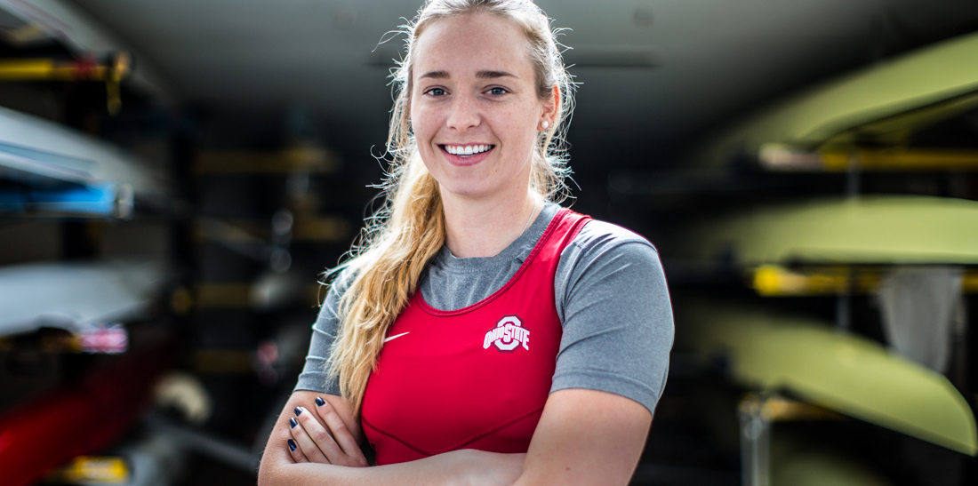 Holly Norton is a leading female rower with British Rowing pictured in Ohio State kit at Leander Club for Rowing Classifieds photographed by Angus Thomas