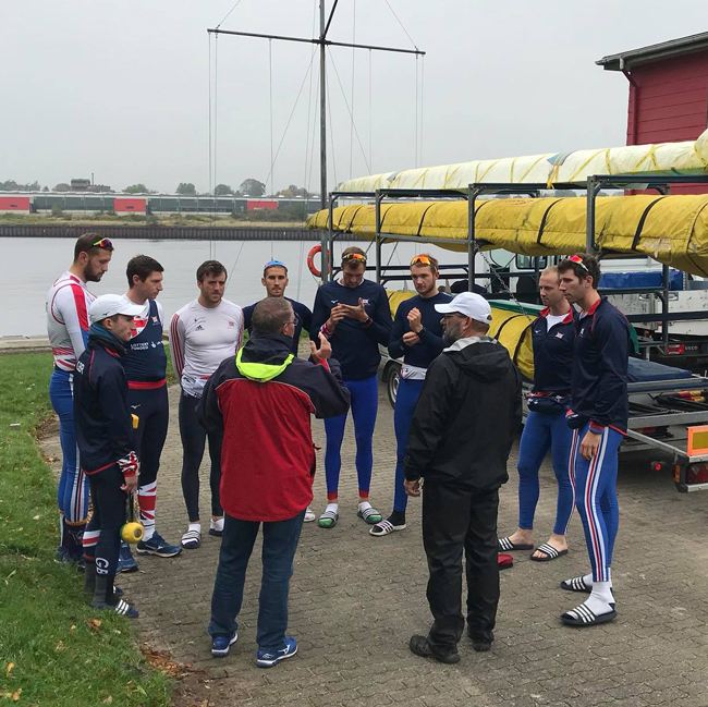The Great Britain Men's eight briefing prior to the NetzCup race 2017