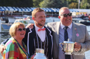 Cathy, John & Philip Collins at Henley after winning the Stewards Challenge Cup 2017