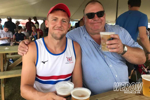 John Collins has a beer with his father at WRChamps in Sarasota