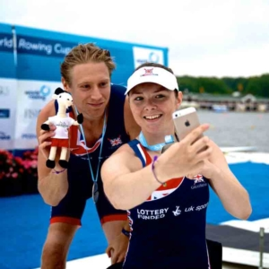 Lauren Rowles and Laurence Whiteley in PR2 rowing for Great Britain