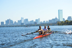 OUBC lighweight four on the Charles River in Boston