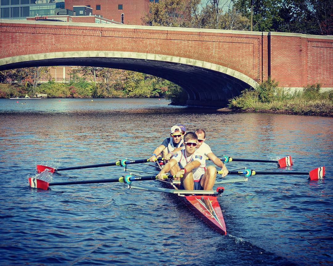 Joel Cassells and the OBUBC lightweight four racing at the Head of the Charles 2017
