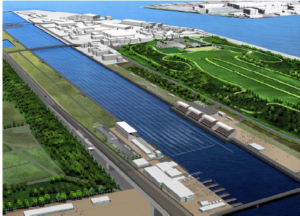 Artists impression on the Sea Forest waterway, site of the Olympic rowing venue for Tokyo 2020