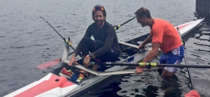Bradley Wiggins with James Cracknell in a double scull
