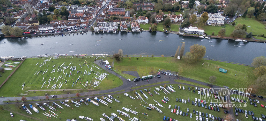 Aerial shot of Henley Long Distance Sculls rowing from the air looking towards Henley-on-Thames