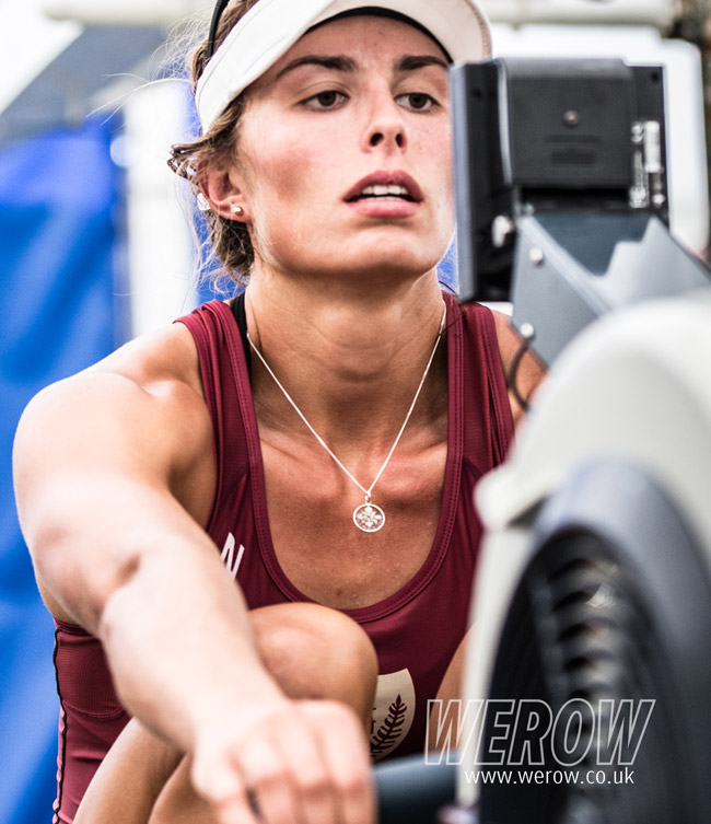 Rowing New Zealand athlete Hannah Osborne on the erg at Henley Royal Regatta