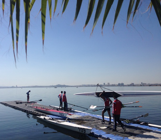 Imogen Walsh coaching rowing on the Lake of Tunis