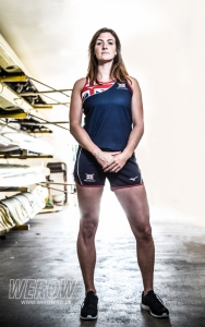 Katherine douglas, rower with Leander Club in the boathouse - image: angus thomas photography