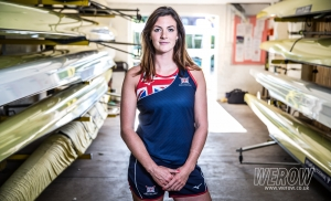 Katherine Douglas in the boathouse at Leander Club