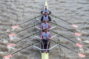 Leander Quad winning Fuller's Head of the River Fours from Hammersmith Bridge
