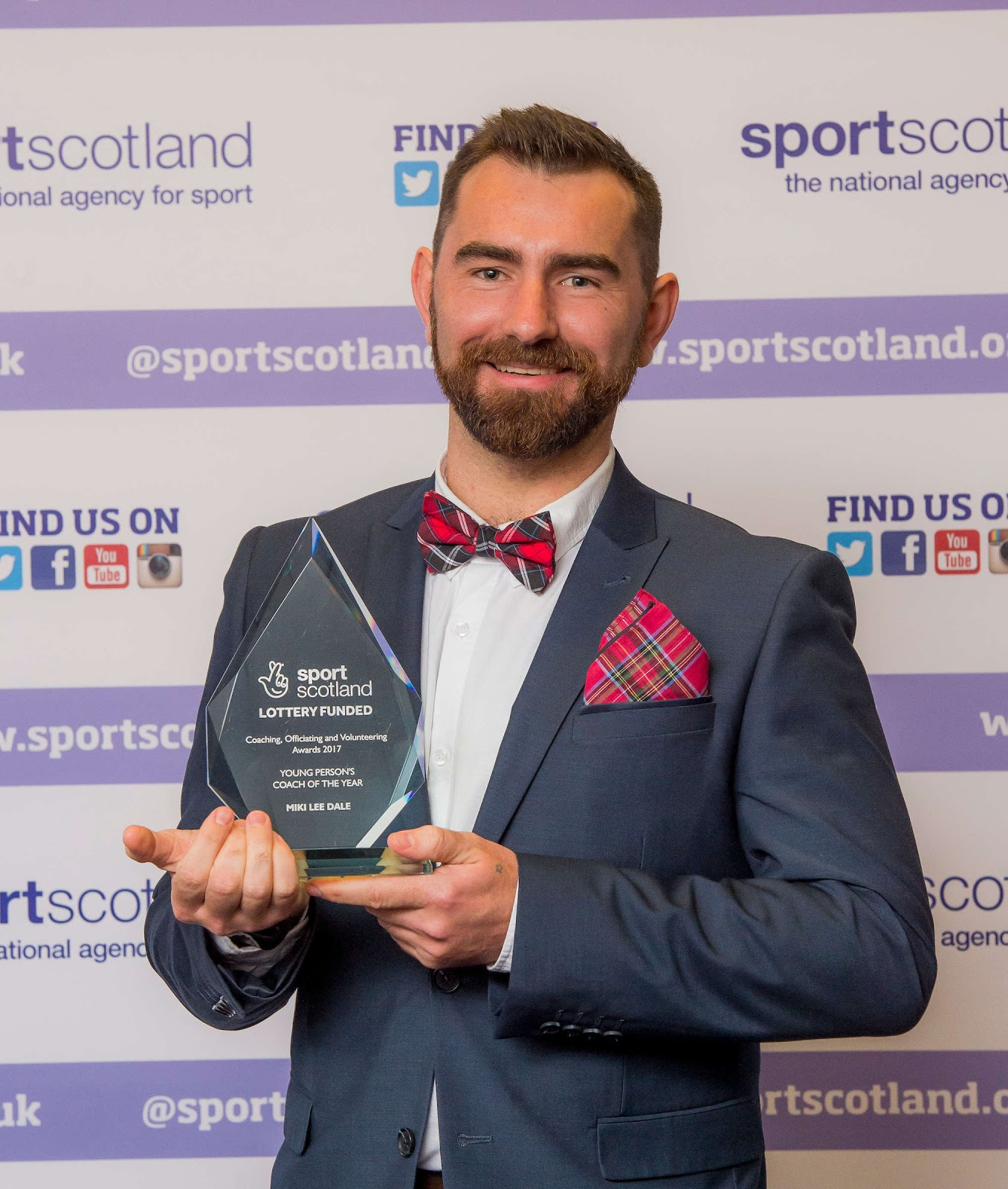 Miki Dale after receiving his Sports Council for Glasgow, Young Persons Coach of the Year Award.