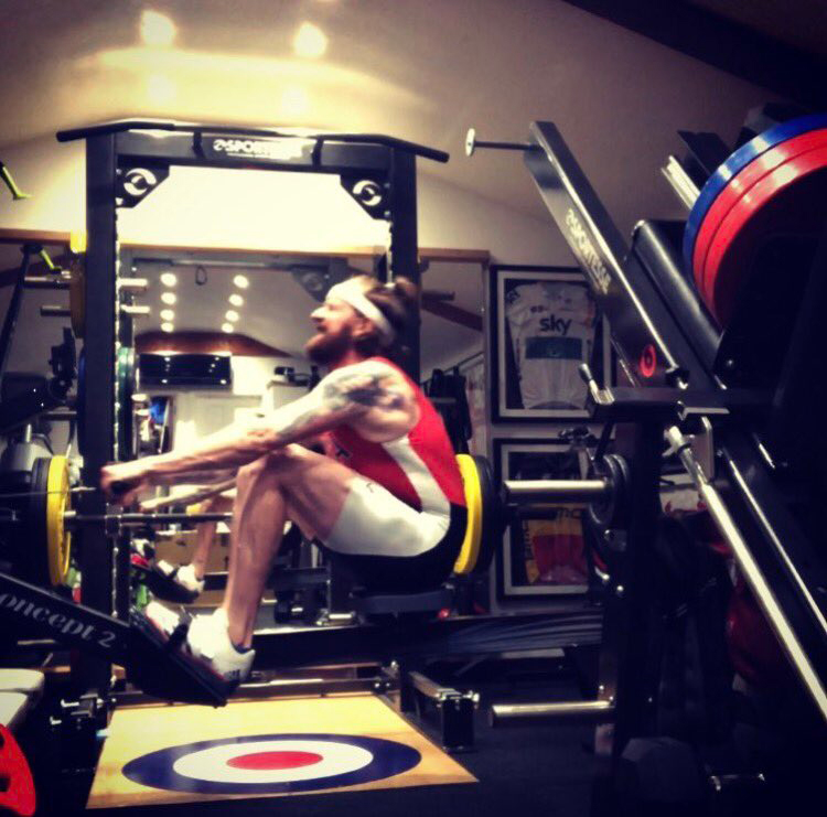 Bradley Wiggins on the ergo on Tuesday prior to BRIC