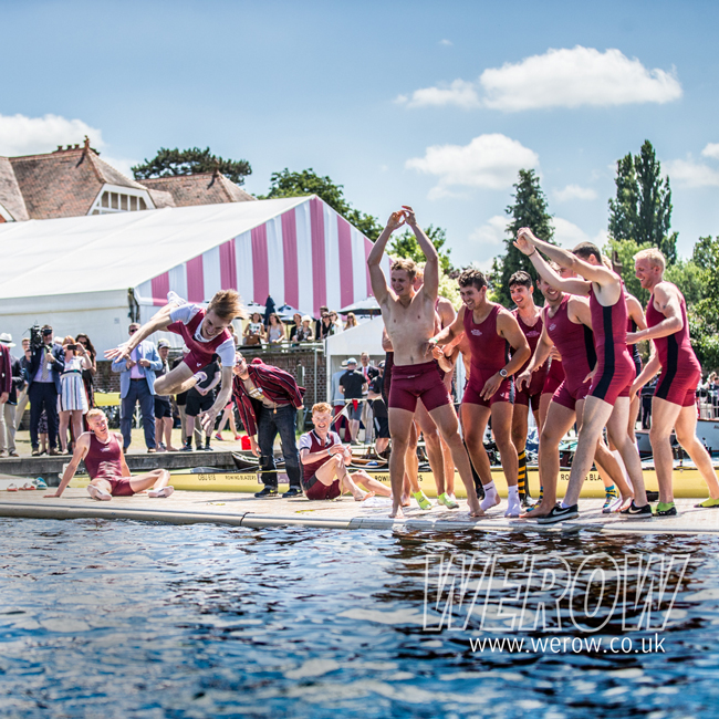 Oxford Brookes University Boat Club celebrate their win in the Temple Cup at HRR 2017