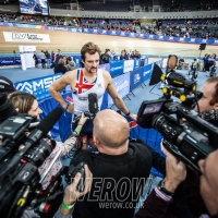 GB rower Adam Neill talks to the press after the British Indoor Rowing Championships