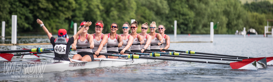 Ohio State University Women's Rowing crew winning at Henley Women's Regatta 2017