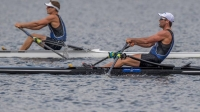 Robbie Manson right pulls ahead of John Storey yesterday. Photo Photosport - Robbie Manson in impressive form beating Drysdale at North Island Club Championships regatta