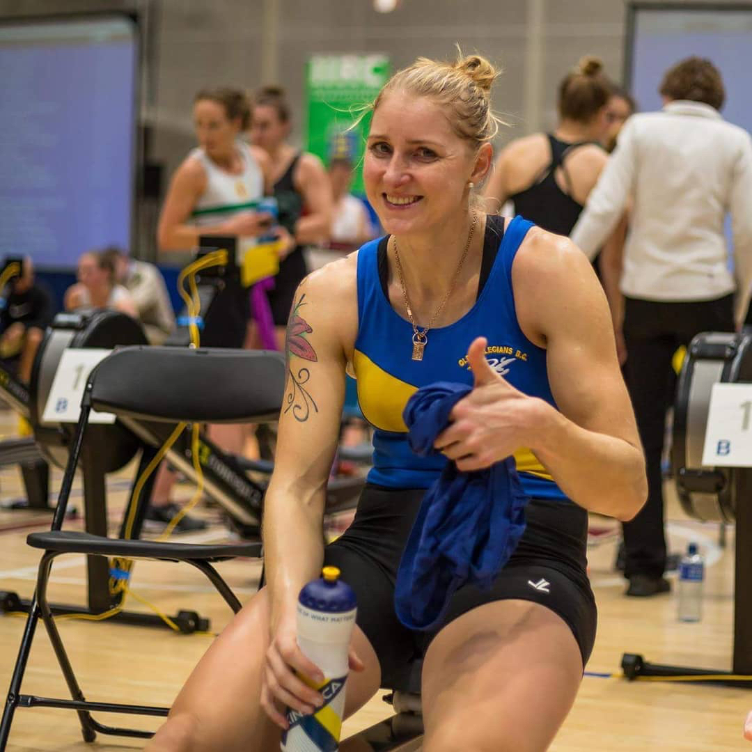 Sanita Puspure at the Irish Indoor Rowing Championships 2018