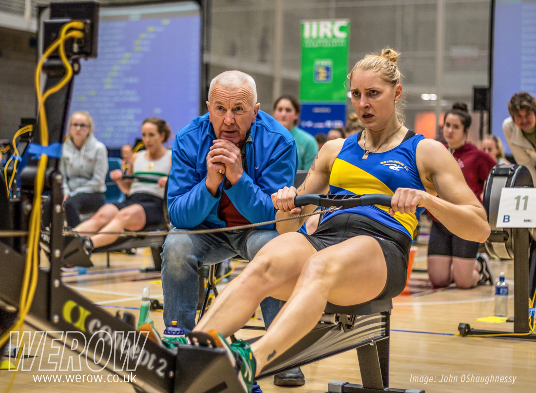 Sanita Puspure and coach Dominic Casey at the Irish Indoor Rowing Championships - John OShaughnessy
