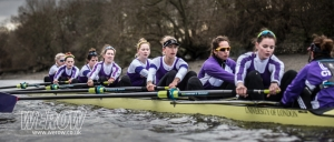 University of London women's squad on the Tideway for the Boat Race fixtures