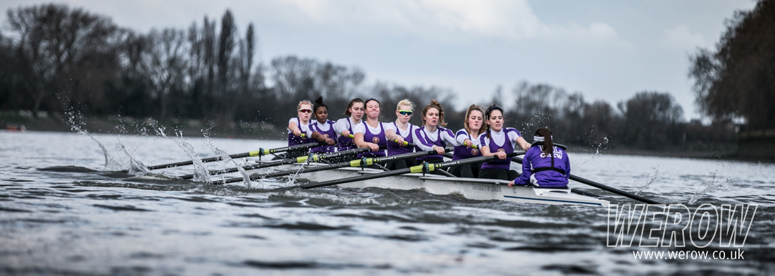 University of London women's rowing 2nd Eight on the Tideway for the Boat Race match
