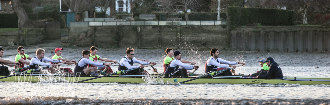 Oxford Brookes racing Oxford University in a pre-Boat Race warm-up