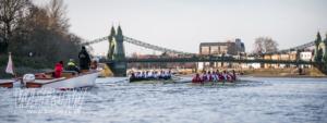 Oxford Brookes and Oxford University heading towards Hammersmith Bridge