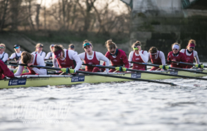 Oxford Brookes women racing Oxford University Women's Boat Club in a pre-Boat Race warm-up