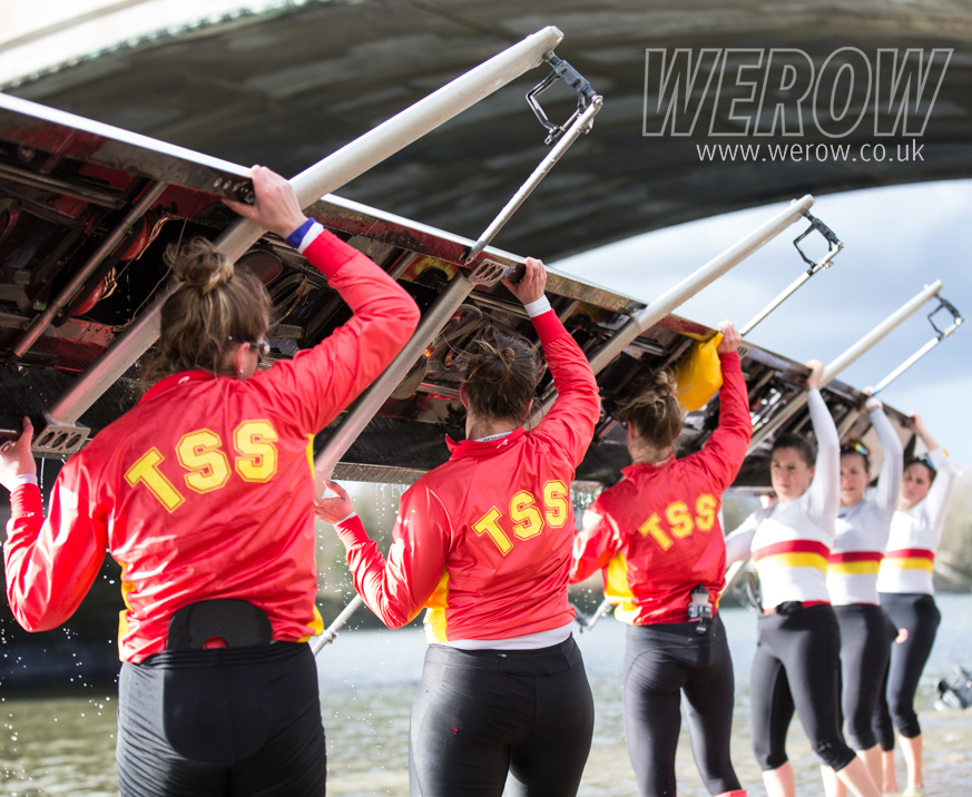 Tideway Scullers School womens squad coming off the water