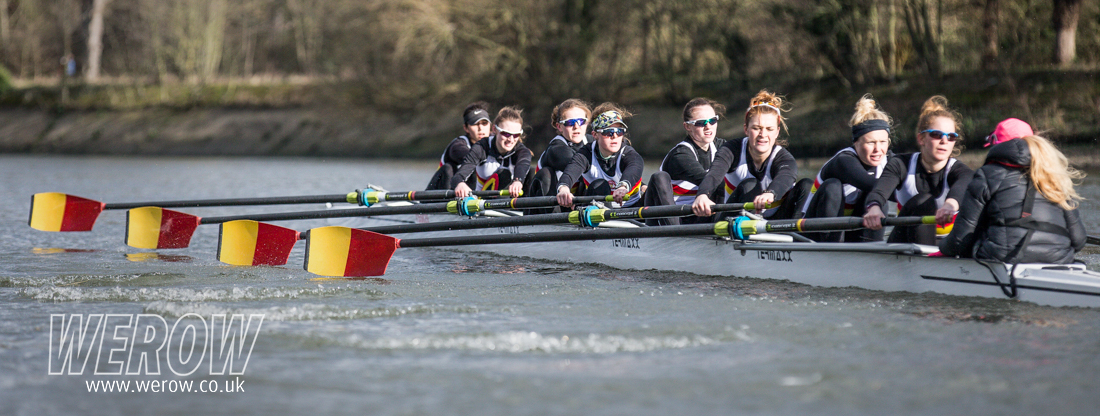 One of the women's eights rowing at Tideway Scullers School in London