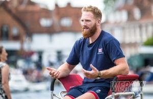 Will Satch talking to the media at Henley Royal Regatta