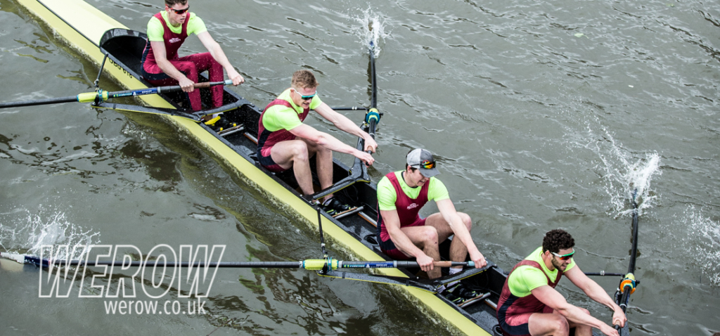 Oxford Brookes passing under Hammersmith Bridge at HORR2018