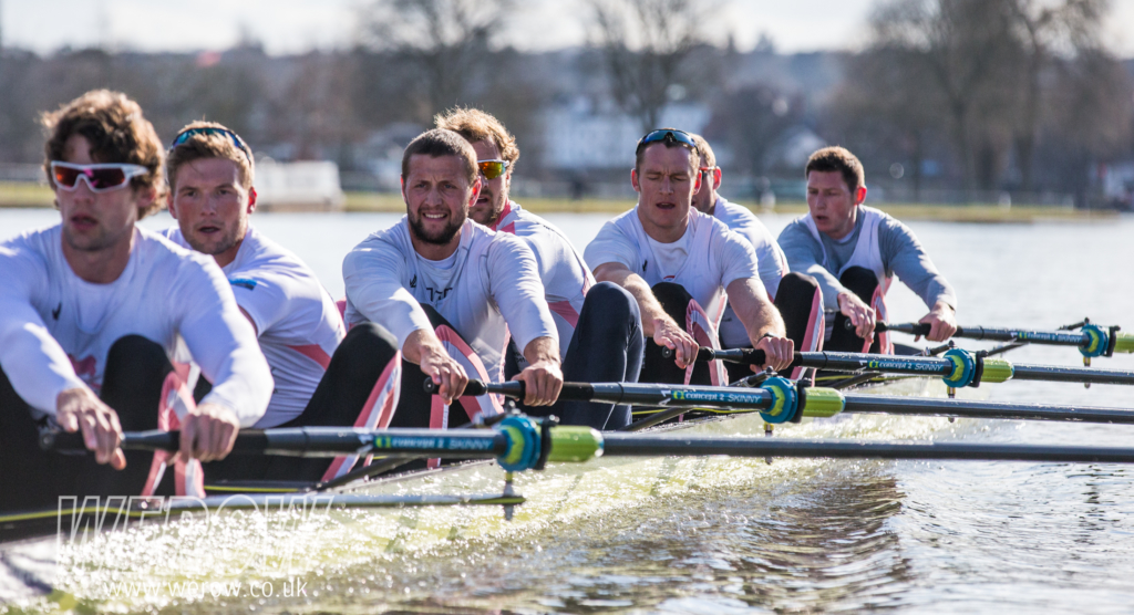 Tom Ramsey, Olly Wynne-Griffith & Henry Fieldman in the Leander First eight