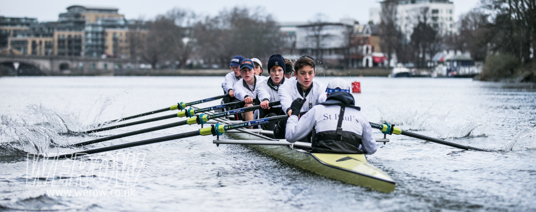 St Paul's School First eight rowing on the Tideway