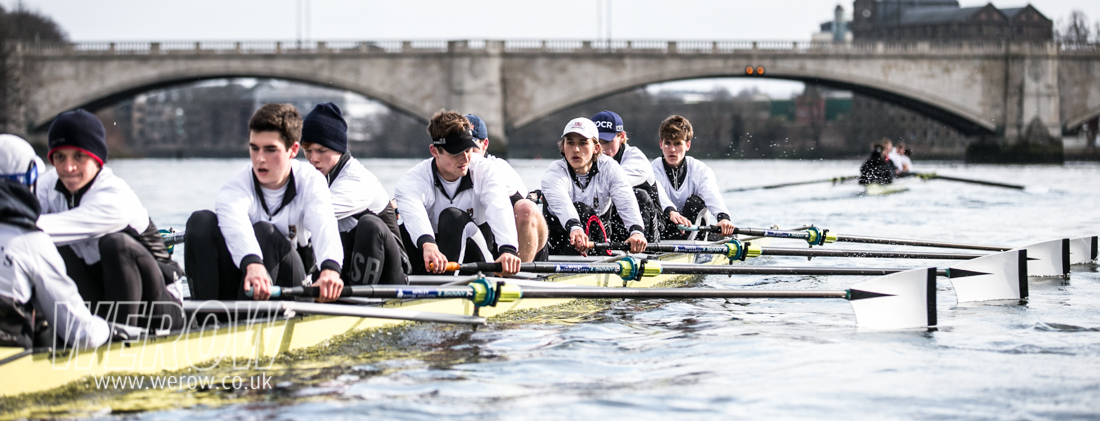 St Paul's School First eight heading for Chiswick Bridge on the Tideway