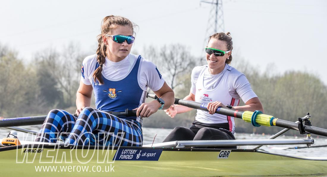 Rebecca Shorten and Karen Bennet, Glasgow2018 ambassador at British Rowing Trials 2018