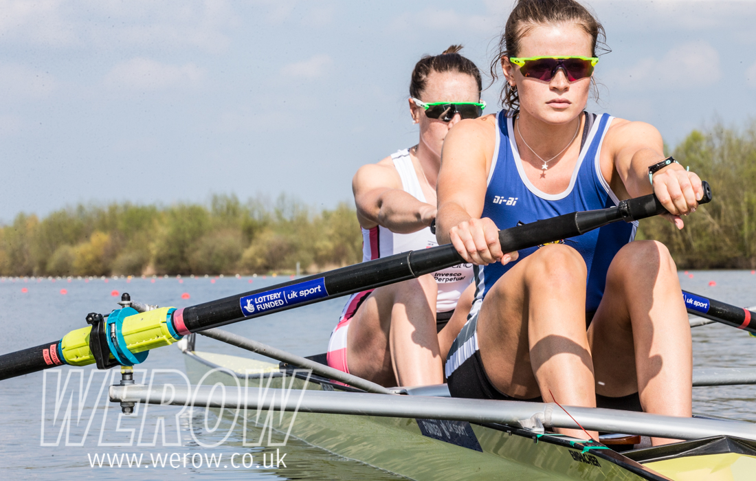 Karen Bennett and Rebecca Shorten on the start at GB Rowing Trials 2018