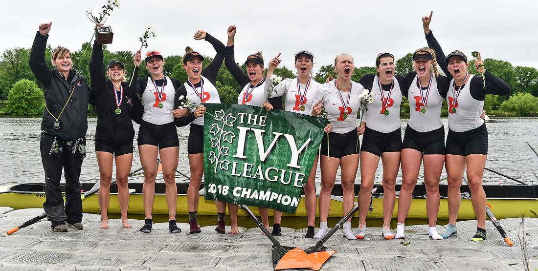 Hannah Scott (second from right) and the winning Princeton women's rowing crew