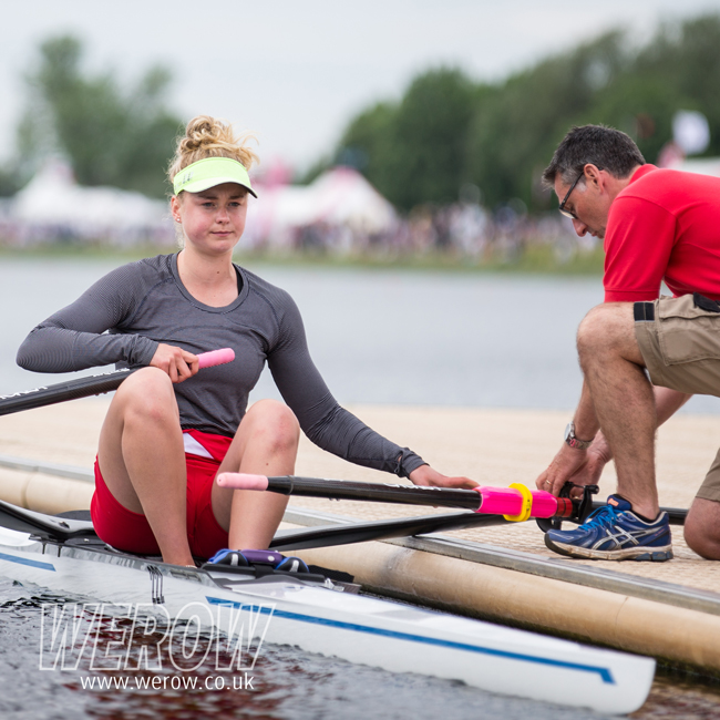 Hannah Scott of Baan Rowing Club with coach Geoff Bones at NSR 2017