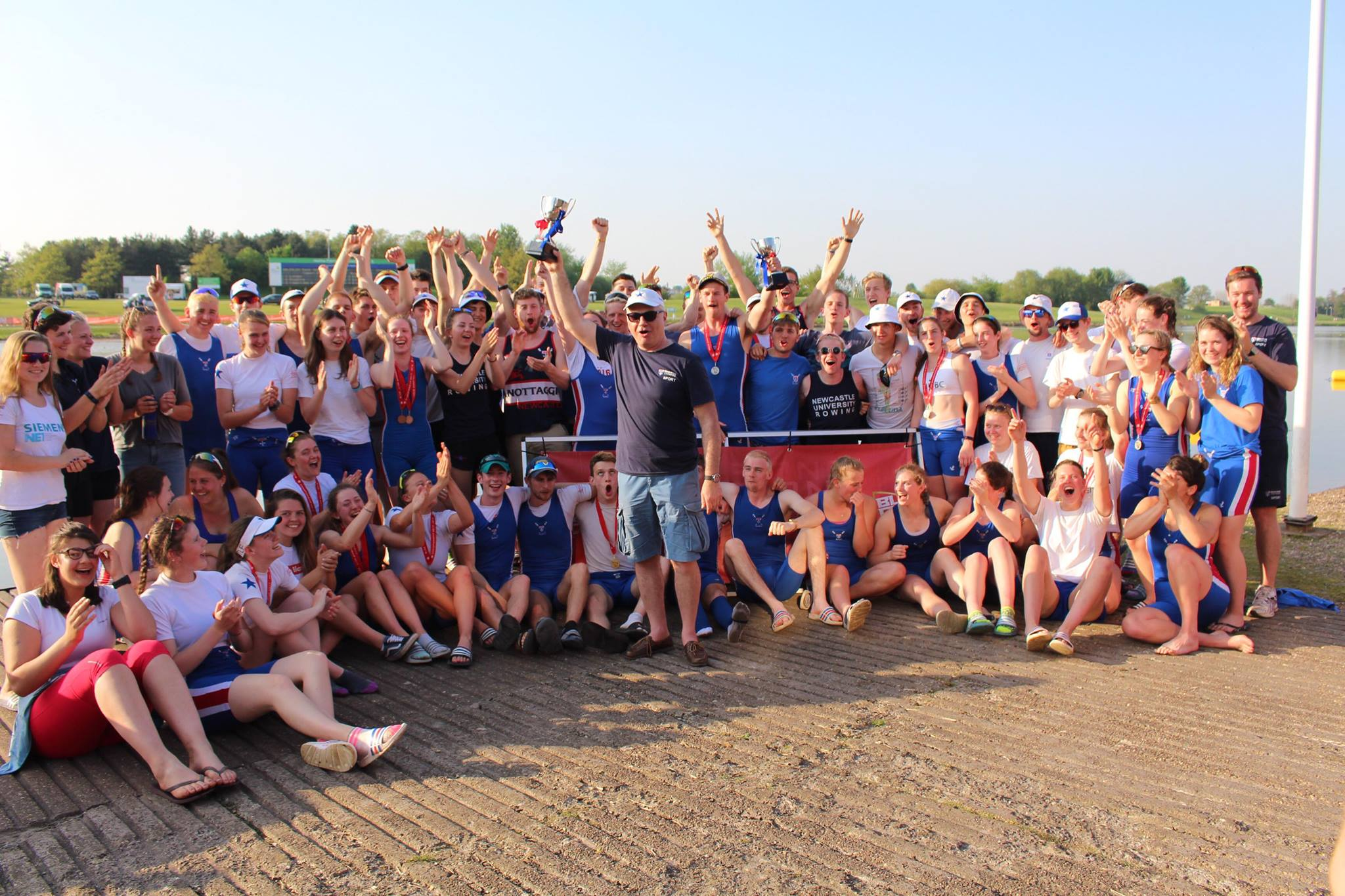 Newcastle University celebrate winning the Victor Ludorum at the BUCS Regatta 2018