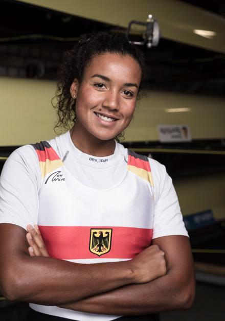Carlotta Nwajide is rowing for Germany at the Rowing World Cup 1 in Belgrade