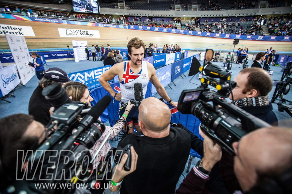 Adam Neill faces the press at the British Rowing Indoor Championships