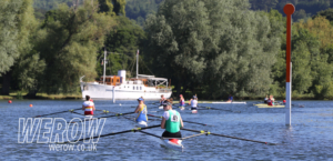 Sculler lining up at the start of Henley Women's Regatta 2018
