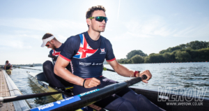 James Rudkin and Josh Bugajski of the GB Mes eight rowing at Caversham